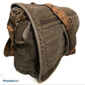 FOSSIL canvas leather messenger portfolio brief